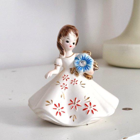 Vintage Josef Originals Diamond April Birthstone Girl Doll Figurine Blue Flower